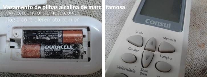 controle remoto Consul de ar condicionado com pilhas estouradas